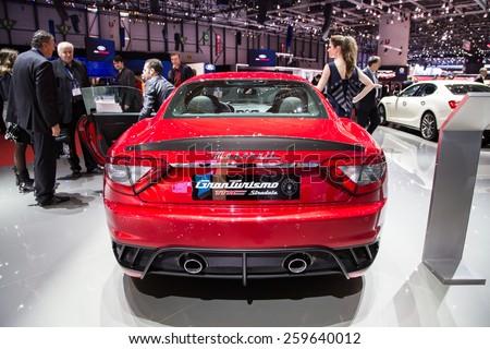 GENEVA, MAR 3: Maserati GranTurismo MC Stradale, presented at the 85th International Motor Show in Geneva, Switzerland on March 3, 2015. - stock photo
