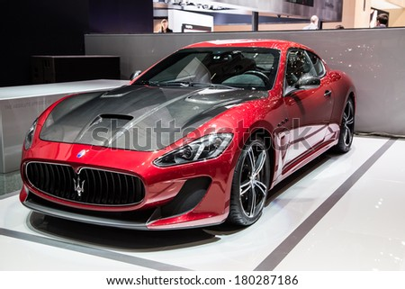 GENEVA, MAR 4: Maserati, presented at the 84th International Motor Show in Geneva, Switzerland on March 4, 2014. - stock photo