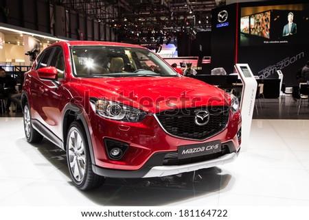 GENEVA, MAR 4: Mazda CX-5, presented at the 84th International Motor Show in Geneva, Switzerland on March 4, 2014. - stock photo