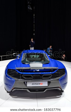 GENEVA, MAR 4: McLaren 650S displayed at the 84th International Motor Show International Motor Show in Geneva, Switzerland on March 4, 2014. - stock photo