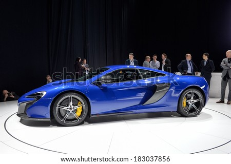 GENEVA, MAR 4: McLaren 650S displayed at the 84th International Motor Show International Motor Show in Geneva, Switzerland on March 4, 2014. - stock photo