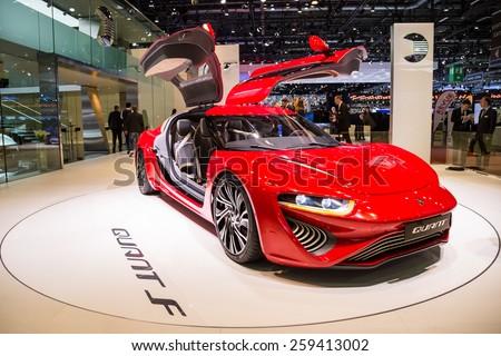 GENEVA, MAR 3: NanoFlowcell Quant F concept car, presented at the 85th International Motor Show in Geneva, Switzerland on March 3, 2015.  - stock photo