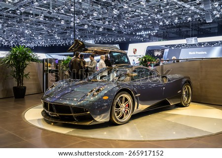 GENEVA, MAR 3: Pagani Huayra car, presented at the 85th International Motor Show in Geneva, Switzerland on March 3, 2015. - stock photo