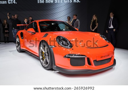 GENEVA, MAR 3: Porsche 911 GT3 RS car, presented at the 85th International Motor Show in Geneva, Switzerland on March 3, 2015. - stock photo