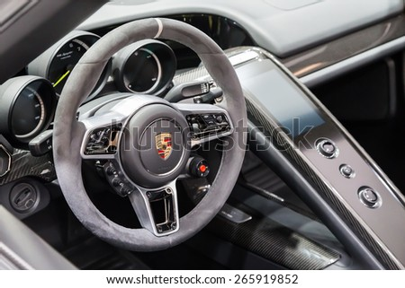 geneva mar 3 porsche 918 spyder car interior presented at the 85th international