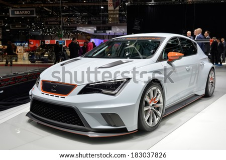 GENEVA, MAR 4: SEAT Leon Cup Racer displayed at the 84th International Motor Show International Motor Show in Geneva, Switzerland on March 4, 2014. - stock photo