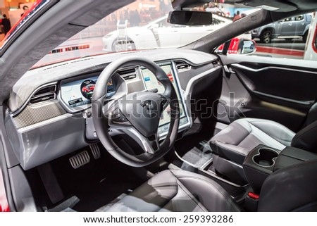 GENEVA, MAR 3: Tesla Model S P85D car interiors, presented at the 85th International Motor Show in Geneva, Switzerland on March 3, 2015. - stock photo