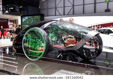 GENEVA, MAR 4: Toyota FV2, presented at the 84th International Motor Show in Geneva, Switzerland on March 4, 2014. - stock photo