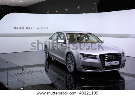 GENEVA - MARCH 4 : A Audi A8 car on display at 80th International Motor Show Palexpo-Geneva on March 4, 2010 in Geneva, Switzerland.