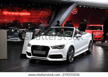 GENEVA, MARCH 3:A Audi A3 1.4T car on display at 85th international Geneva motor Show at Palexpo-Geneva on March 3, 2015 in Geneva, Switzerland.  - stock photo