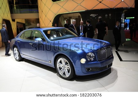 GENEVA, MARCH 6 : A  Bentley mulsanne car on display at 84th international Geneva motor show Show Palexpo-Geneva on March 6, 2014 in Geneva, Switzerland.