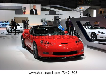 GENEVA - MARCH 3 : A  Chevrolet Corvette car on display at 81th International Motor Show Palexpo-Geneva on March 3, 2010 in Geneva, Switzerland. - stock photo