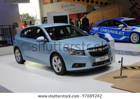 GENEVA, MARCH 8 : A Chevrolet cruze car on display at 82th International Motor Show Palexpo-Geneva on March 8, 2012 in Geneva, Switzerland.