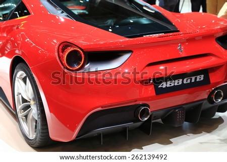 GENEVA, MARCH 3:A Ferrari 488 GTB car on display at 85th international Geneva motor Show at Palexpo-Geneva on March 3, 2015 at Geneva, Switzerland.  - stock photo