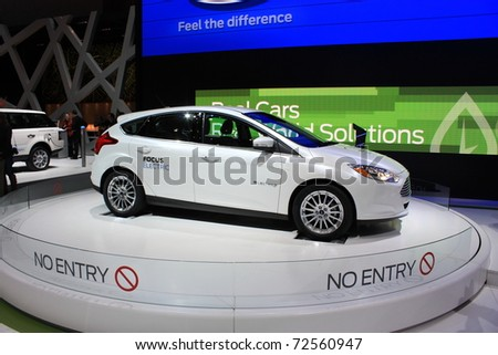 GENEVA - MARCH 3 : A  Ford FOCUS electric car show on display at 81th International Motor Show Palexpo-Geneva on March 3, 2010 in Geneva, Switzerland. - stock photo