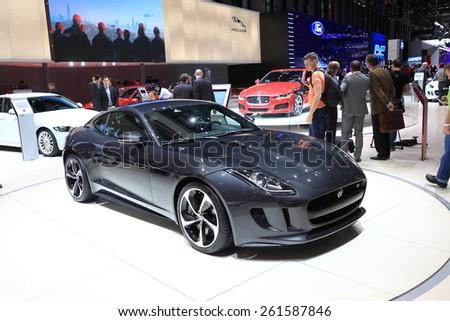 GENEVA, MARCH 3:A Jaguar F-type car on display at 85th international Geneva motor Show at Palexpo-Geneva on March 3, 2015 at Geneva, Switzerland.  - stock photo