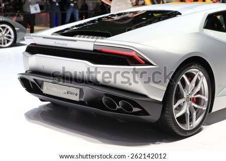 GENEVA, MARCH 3:A Lamborghini LP 610-4 Huracan   car on display at 85th international Geneva motor Show at Palexpo-Geneva on March 3, 2015 at Geneva, Switzerland.  - stock photo
