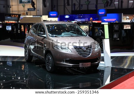 GENEVA, MARCH 3:A Lancia ypsilon 30 car on display at 85th international Geneva motor Show at Palexpo-Geneva on March 3, 2015 at Geneva, Switzerland.