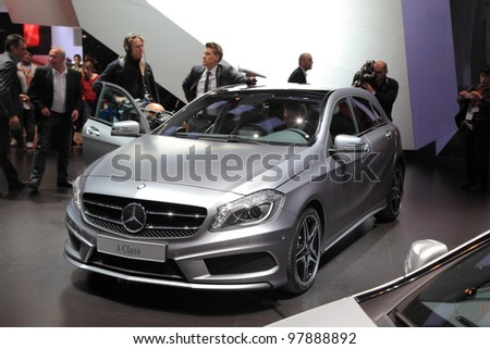 GENEVA, MARCH 8 : A mercedes benz A-Class car on display at 82th International Motor Show Palexpo-Geneva on March 8, 2012 in Geneva, Switzerland.