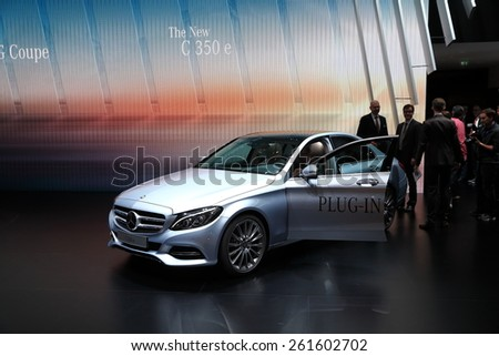 GENEVA, MARCH 3:A Mercedes Benz C350 E car on display at 85th international Geneva motor Show at Palexpo-Geneva on March 3, 2015 at Geneva, Switzerland.  - stock photo