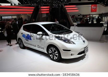 GENEVA, MARCH 6 : A Nissan autonomous Drive car on display at 84th international Geneva motor show Show Palexpo-Geneva on March 6, 2014 in Geneva, Switzerland.  - stock photo