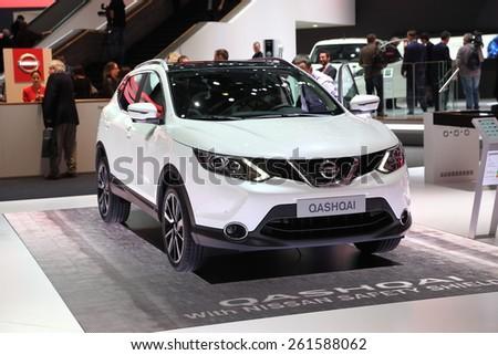 GENEVA, MARCH 3:A  Nissan qashqai car on display at 85th international Geneva motor Show at Palexpo-Geneva on March 3, 2015 at Geneva, Switzerland.  - stock photo