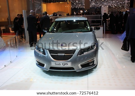 GENEVA- MARCH 3 : A SAAB 95   car on display at 81th International Motor Show Palexpo-Geneva on March 3, 2010 in Geneva, Switzerland. - stock photo