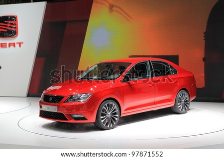 GENEVA, MARCH 8 : A  SEAT TOLEDO GINEBRA 12 car on display at 82th International Motor Show Palexpo-Geneva on March 8, 2012 in Geneva, Switzerland.