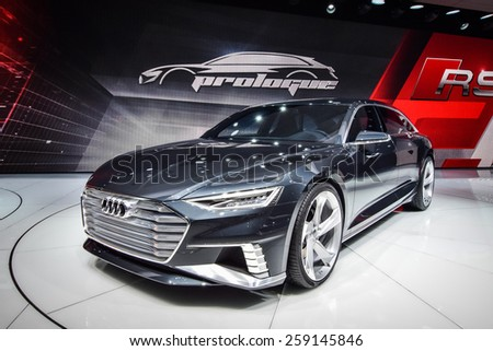 GENEVA - MARCH 3, 2015: Audi Prologue Avant Concept presented at the 85th Geneva International Motor Show in Palexpo. Power comes from a twin-turbo diesel V6 plug-in hybrid with a total of 455 hp.
