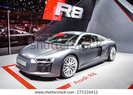 GENEVA - MARCH 3, 2015: Audi R8 sports car presented at the 85th Geneva International Motor Show in Palexpo. Power in this car comes from 5.2-liter V10 with 540 hp.