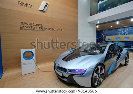 GENEVA - MARCH 16 : Blue BMW i8 concept on display at the 82st International Motor Show Palexpo -Geneva on March 16; 2012 in Geneva, Switzerland. - stock photo
