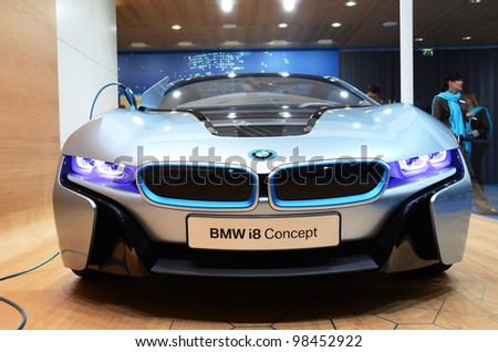 GENEVA - MARCH 12: BMW i8 Concept on display at 82nd International Motor Show on March 12, 2012 in Geneva, Switzerland - stock photo