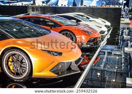 GENEVA - MARCH 3, 2015: DMC EXOTIC CAR TUNING LTD presented at the 85th Geneva International Motor Show the range of customized Lamborghini supercars. - stock photo