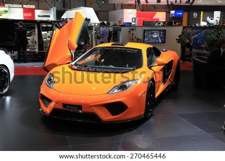 GENEVA, MARCH 3: FAB Design McLaren MP4 12C Chimera  ar on display at 85th international Geneva motor Show at Palexpo-Geneva on March 3, 2015 at Geneva, Switzerland. - stock photo