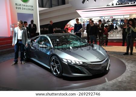 GENEVA, MARCH 3: Honda NSX concept car on display at 85th international Geneva motor Show at Palexpo-Geneva on March 3, 2015 at Geneva, Switzerland. - stock photo