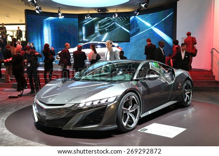 GENEVA, MARCH 3: Honda NSX concept car on display at 85th international Geneva motor Show at Palexpo-Geneva on March 3, 2015 at Geneva, Switzerland. - stock photo