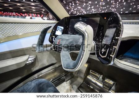 GENEVA - MARCH 3, 2015: Italdesign Giugiaro Gea presented at the 85th Geneva International Motor Show in Palexpo. Photo of the interior. - stock photo