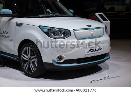 GENEVA, MARCH 2: Kia Soul EV autonomous driving all-electric car on display at 86th international Geneva motor Show at Palexpo-Geneva on March 2, 2016 at Geneva, Switzerland.