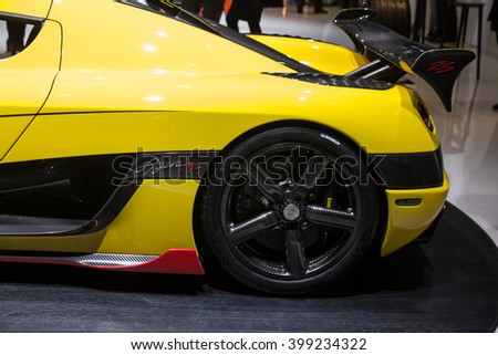 GENEVA, MARCH 2: Koenigsegg Agera RS car on display at 86th international Geneva motor Show at Palexpo-Geneva on March 2, 2016 in Geneva, Switzerland. - stock photo