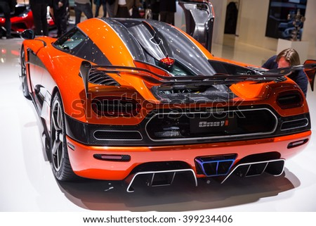 GENEVA, MARCH 2:Koenigsegg â??One of 1? Agera Final Edition car on display at 86th international Geneva motor Show at Palexpo-Geneva on March 2, 2016 in Geneva, Switzerland. - stock photo