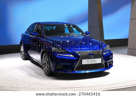 GENEVA, MARCH 3: Lexus is 300h car on display at 85th international Geneva motor Show at Palexpo-Geneva on March 3, 2015 at Geneva, Switzerland. - stock photo