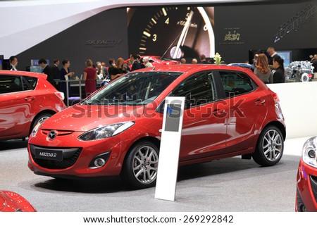 GENEVA, MARCH 3: Mazda 2 car on display at 85th international Geneva motor Show at Palexpo-Geneva on March 3, 2015 at Geneva, Switzerland. - stock photo