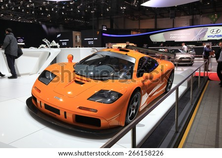 GENEVA, MARCH 3: McLaren F1 LM XP1 car on display at 85th international Geneva motor Show at Palexpo-Geneva on March 3, 2015 in Geneva, Switzerland. - stock photo