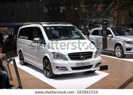 GENEVA, MARCH 3: Mercedes Benz Viano car on display at 85th international Geneva motor Show at Palexpo-Geneva on March 3, 2015 at Geneva, Switzerland. - stock photo