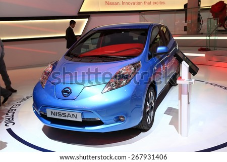 GENEVA, MARCH 3: Nissan new leaf 100% electric car on display at 85th international Geneva motor Show at Palexpo-Geneva on March 3, 2015 at Geneva, Switzerland.  - stock photo