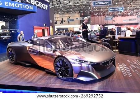 GENEVA, MARCH 3: peugeot ONYX car on display at 85th international Geneva motor Show at Palexpo-Geneva on March 3, 2015 at Geneva, Switzerland. - stock photo