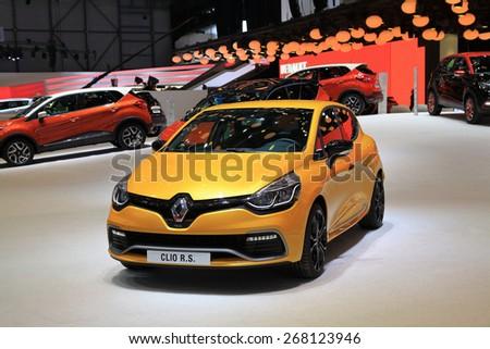 GENEVA, MARCH 3: Renault clio R.S. car on display at 85th international Geneva motor Show at Palexpo-Geneva on March 3, 2015 at Geneva, Switzerland.  - stock photo