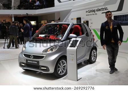 GENEVA, MARCH 3: smart electric drive car on display at 85th international Geneva motor Show at Palexpo-Geneva on March 3, 2015 at Geneva, Switzerland. - stock photo