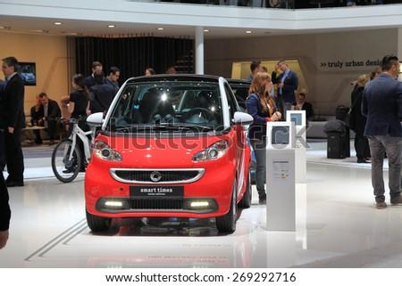GENEVA, MARCH 3: smart times swiss edition car on display at 85th international Geneva motor Show at Palexpo-Geneva on March 3, 2015 at Geneva, Switzerland. - stock photo
