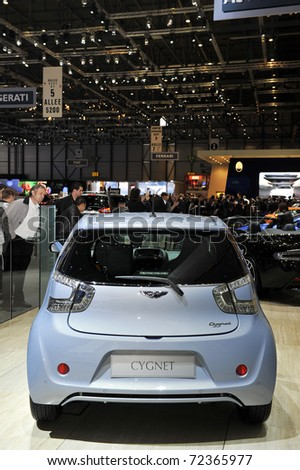 GENEVA - MARCH 1: The Aston Martin Cygnet City Car on display at Geneva International Motor Show at Palexpo Geneva Centre, March 1, 2011 in Geneva, Switzerland.